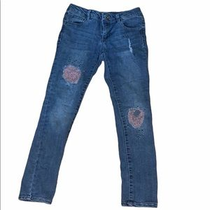 3/$15 Squeeze girls jeans pink lace rhinestones